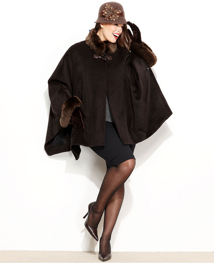 Jones New York Plus Size Coat, Faux-Fur-Trim Cape
