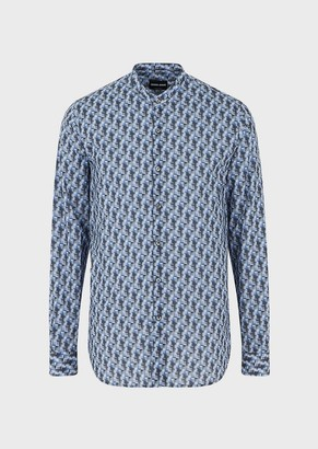 Giorgio Armani Slim-Fit Shirt Featuring Guru Collar And Exclusive Patterned Fabric