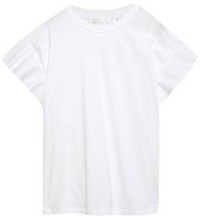 Victoria Victoria Beckham Ruffled Poplin-trimmed Cotton-jersey Top