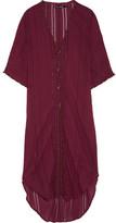 Vix Woven Cotton-voile Kaftan - Burgundy