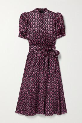 Alice + Olivia Neoma Belted Floral-print Satin Midi Dress