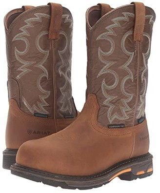 Ariat Workhog Pull-On CT WP (Aged Bark/Army Green) Women's Work Boots