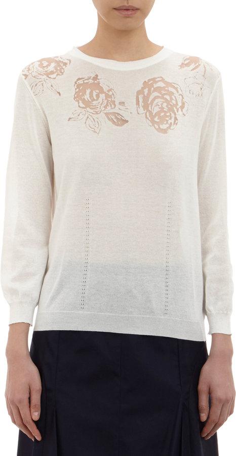 Nina Ricci Floral Devoré Pullover Sweater