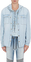Balmain Men's Snap-Front Shirt-LIGHT BLUE