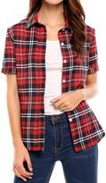 Meaneor Womens Summer Plaid Short Sleeve Button Down Shirts Casual Loose Blouse?red and white L?