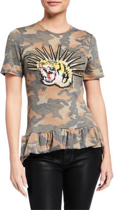 Melissa Masse Camo Ruffle-Hem Jersey T-Shirt with Tiger Applique
