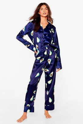 Nasty Gal Womens Avocado and Out Satin Pyjama trousers Set - Navy - 6, Navy