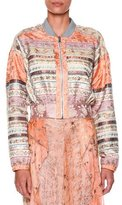 Etro Long-Sleeve Ribbon Bomber Jacket, Peach/Pink/Multi