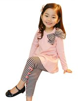 Malltop Baby Clothing Set, Long Sleeve Bowknot T-Shirt + Striped Long Pants