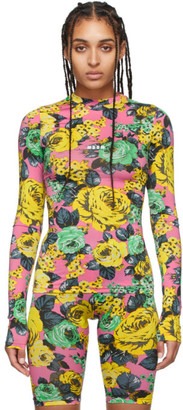 MSGM Pink Rose Print Long Sleeve T-Shirt