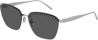 Alaia Rimless Square Metal Sunglasses with Crystals