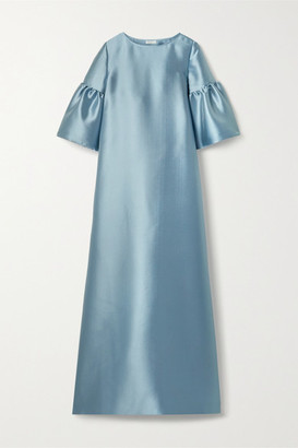 Reem Acra Satin-pique Gown - Light blue