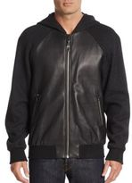Mackage Leather Paneled-Knit Hoodie