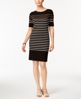 Karen Scott Petite Cotton Liberty Striped Sheath Dress, Created for Macy's