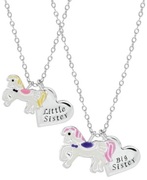 Rhona Sutton 4 Kids Children's Unicorn Sisters Necklace Two Piece Set in Sterling Silver