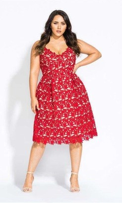 City Chic Scarlet So Fancy Crochet Fit & Flare Dress in Red Size 14/X-Small Polyester