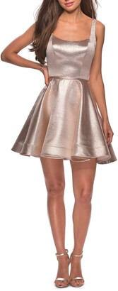 La Femme Metallic Fit & Flare Cocktail Dress