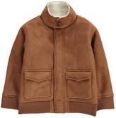 Bonton Marley Fur Lined Aviateur Faux Suede Jacket