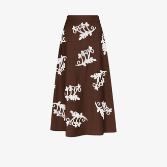 Prada Embroidered Knit Skirt