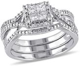 Ice Julie Leah 1/2 CT TW Princess-Cut Diamond White Sterling Silver Bridal Set