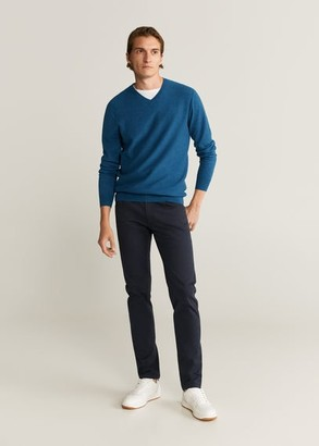 MANGO MAN - Textured cotton cashmere-blend sweater burnt orange - S - Men