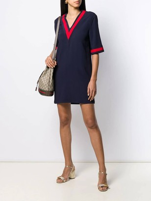 Gucci Oversize Maxi Shirt With Web Navy