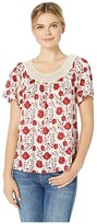 Lucky Brand Crochet Short Sleeve Top (Red Multi) Women's T Shirt