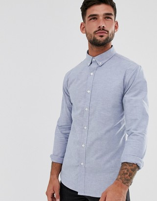 New Look muscle fit oxford shirt in light blue