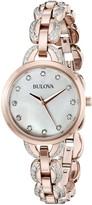 Bulova Women's 98L207 Crystal Analog Display Quartz Rose Gold Watch