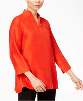 Eileen Fisher Silk Stand-Collar Top