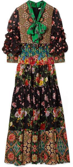 Alice + Olivia Alice Olivia - Clementine Printed Silk Crepe De Chine Maxi Dress - Black