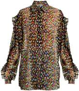 Marco De Vincenzo Multicoloured leopard-print silk-georgette blouse