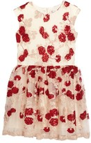 Halabaloo Toddler Girl's Floral Sequin Mesh Dress
