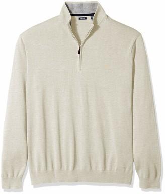 Izod Men's Tall Premium Essentials Quarter Zip Solid 12 Gauge Sweater