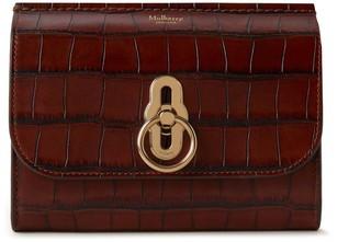 Mulberry Amberley Medium Wallet Cognac Brown Vintage Croc Print