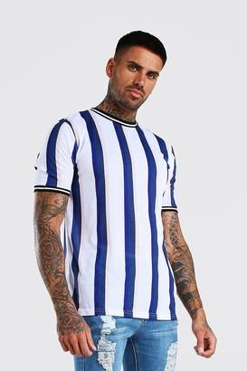 boohoo Mens White Vertical Stripe T-Shirt With Sports Rib, White