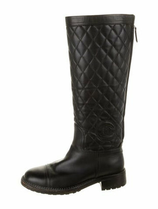 Chanel Interlocking CC Logo Leather Riding Boots Black