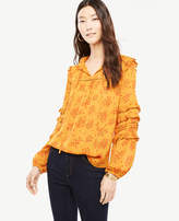 Ann Taylor Bouquet Ruffle Sleeve Top