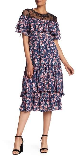 Rebecca Taylor Short Sleeve Tea Rose Silk Blend Midi Dress