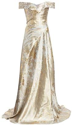 Rene Ruiz Collection Metallic Off-the-Shoulder Gown