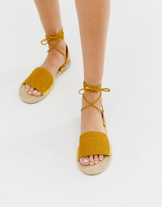 ASOS DESIGN Josy woven espadrille flat sandals in yellow