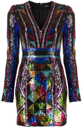 Balmain Sequin Embroidery Short Dress