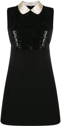 Miu Miu Sequin-Embellished Scallop Shift Dress