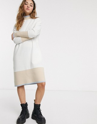 Noisy May midi sweatshirt dress with contrast trims in cream