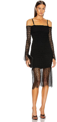 Dion Lee Shirred Elapid Lace Dress in Black | FWRD
