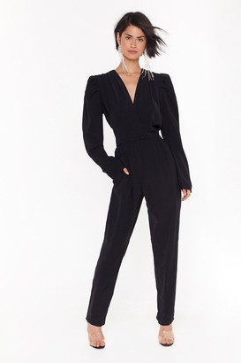 Nasty Gal Womens Make a Statement Wrap Jumpsuit - Black - 4, Black