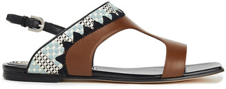 Emilio Pucci Embroidered Leather Slingback Sandals