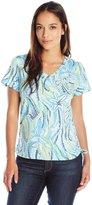 Caribbean Joe Women's Petite Dot Print Short Sleeve V-Neck Side Ruched Tee Shirt