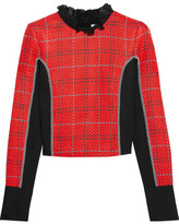 3.1 Phillip Lim Silk Chiffon-trimmed Twill And Tweed Top - Red