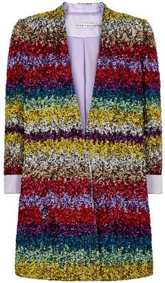 Alice + Olivia Linda striped sequin blazer